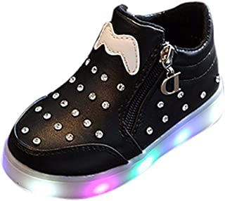 Toddler Sneakers Trainers Children's Shoes with Lights Non-Slip Black White 70% Discount with Zipper, Breathable Shoes Pink for Kids Without Lace, FULLSUNNY
