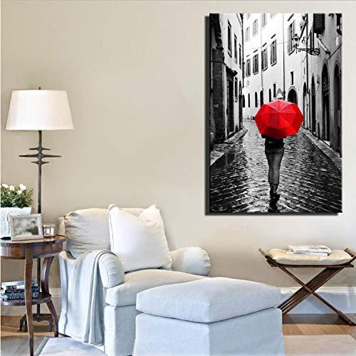 Ölgemälde Realistische Regentage Landschaft Leinwand Gemälde Digital HD Print Frau Mit Einem Roten Regenschirm Stadt Landschaft Wohnkultur Bild Bild-60 cm x 70 cm