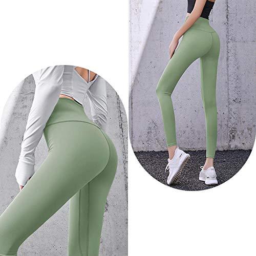 quming Fitness Gran EláSticos Mallas,Los Pantalones de Yoga empujan hacia Arriba Las Polainas, Aptitud de Las Mujeres Que Ejecutan Las Polainas sin Costuras-Green_XL