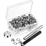 Grommet Werkzeug Kit, Grommet Einstell Werkzeug und 100 Sets Grommet Ösen mit Aufbewahrungsbox (1/ 4 Zoll Innen Durchmesserr)