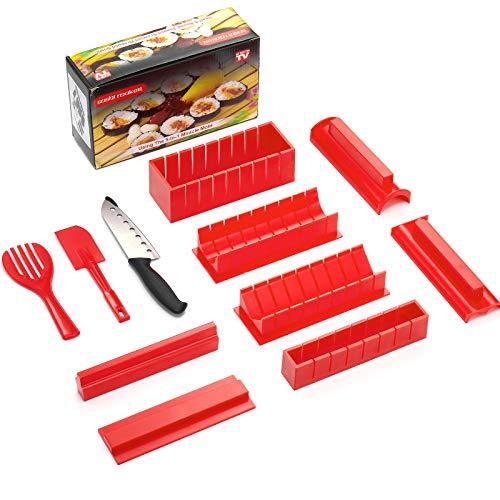 Kit para hacer sushi, edición de lujo, juego completo de 11 piezas, herramienta para hacer sushi sin BPA, con cuchillo de sushi, 8 rollos de arroz, forma de tenedor, espátula, herramienta para hacer sushi en casa [rojo]
