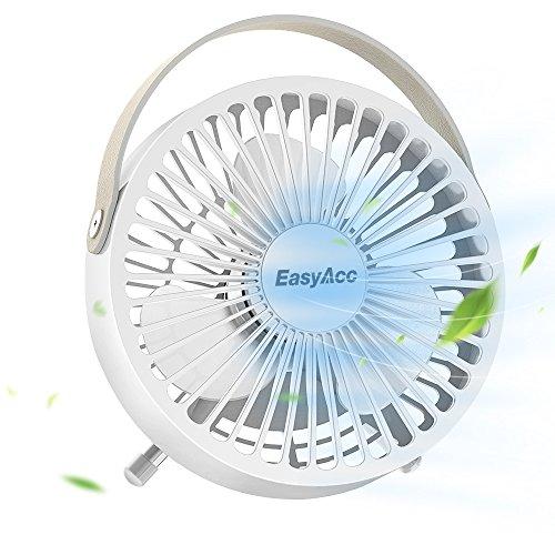 EasyAcc Ventilatore USB portatile da 4 pollici Ventilatore piccolo da tavolo Ventilatore personale con 3 pale con impugnatura in pelle Ventilatore regolabile per tavolo da ufficio a casa da tavolo, ecc Bianco