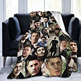 Jingliwang Jared Padalecki Super Sam Winchester Natural Jensen Ackles Dean Winchester Misha Collins Soft and Warm Fleece Throw Blanket for Camping Couch Cozy Plush Bed Blankets