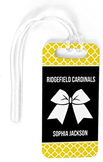 Cheerleading Luggage & Bag Tag | Personalized Cheer Squad with Bow | Standard Lines on Back | SMALL | YELLOW/BLACK