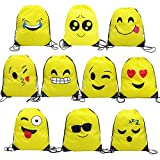 Magift Emoji Drawstring Backpack, Surprise Favourite Party Gift Bag (10 Pack)
