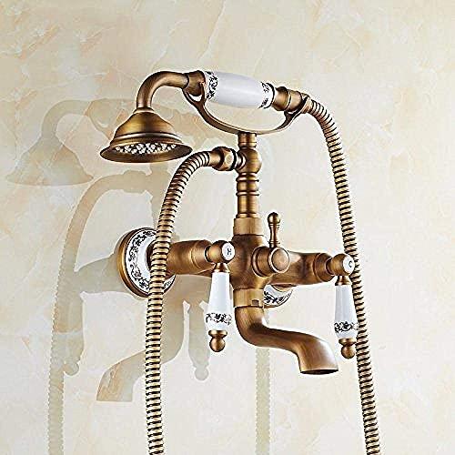 Grifo (agua) Grifo,grifo,grifo,ducha, bronce, porcelana, grifo de ducha, baño, teléfono, grifo de baño con ducha de mano, grifo de ducha de baño, grifo de baño antiguo múltiple