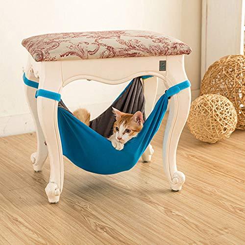 weijij Cat Ferret Hammock Hanging Bag Chair Comfortable Pet Mat Adjustable Warm Cover Pet Sleeping Hammock Blanket Christmas (Blue)