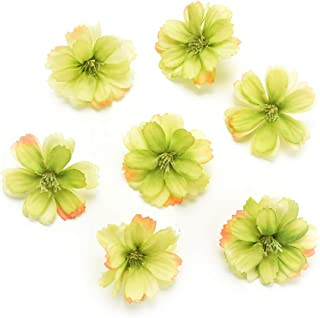 Fake flower heads in bulk wholesale for Crafts Artificial Silk Flowers Head Peony Daisy Decor DIY Flower Decoration for Home Wedding Party Car Corsage Decoration Fake Flowers 50PCS 4cm (Green)