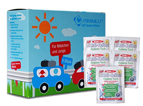 Ecosharkz Notfall-WC Bundle für Kinder für dringende kleine Bedürfnisse im Auto, im Stau unterwegs oder anderswo mit Hand-Desinfektionstüchern (5 Stück für Jungen und Mädchen)