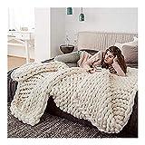 Grobe Strickdecke Wolle Garn Riese Klobig Sticken Werfen Sofa Decke Handgewebt Sperrig Haustier Bett Stuhl Matte Teppich (Color : Beige, Size : 180x200cm(71x79inch))