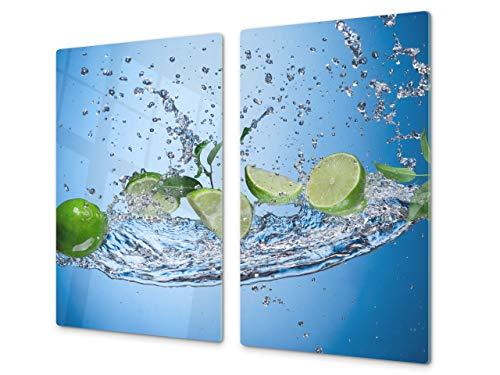 Tabla de cocina de vidrio templado   Tabla de cortar de cristal resistente – Cubre Vitro Decorativo – UNA PIEZA (60 x 52 cm) o DOS PIEZAS (30 x 52 cm); D07 Frutas y verduras: Lima 49