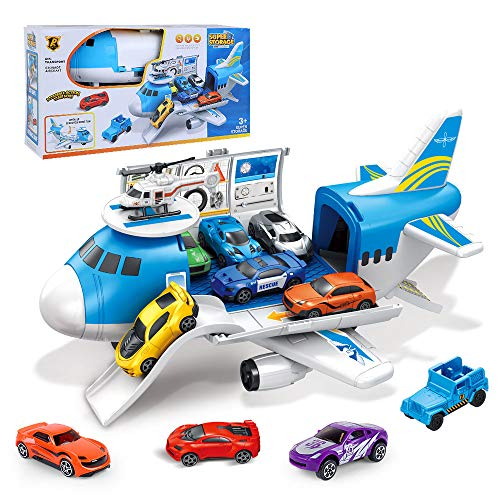 Transport Cargo Airplane Toys - Car Toys for 3, 4, 5 Year Old Boys, 11 in 1 Take Apart Plane Toys Including 10 Vehicles and 1 Helicopter, Preschool Gift for Kids