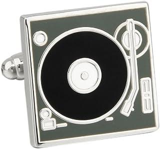 MRCUFF Presentation Gift Box Turntable Record Player DJ Pair Cufflinks & Polishing Cloth