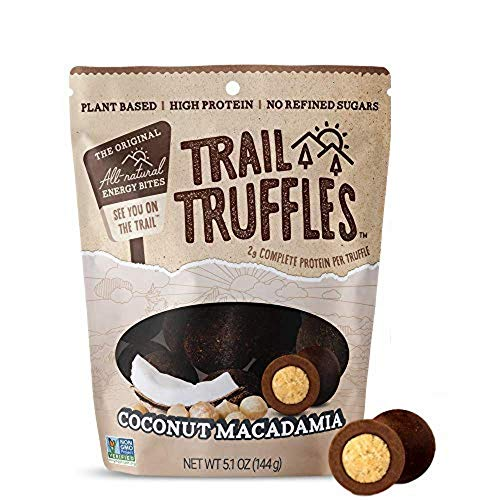 TRAIL TRUFFLES – Dark Chocolate Nut-Butter Filled Protein Bites – Healthy, Plant Based, Gluten Free, Dairy Free, Soy Free, Non-GMO Snacks (Coconut Macadamia, 1 Pack)