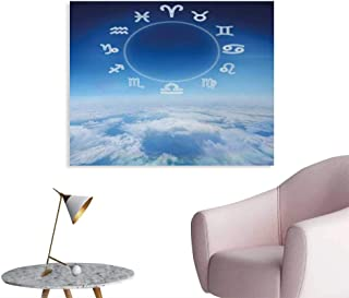 Tudouhoho Astrology Custom Poster Zodiac Signs Aquarius Pisces Aries with Sky Clouds Backdrop Art Print Photo Wall Paper Sky Blue and White W48 xL32