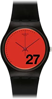 Swatch Women's Generation 27 Red Dial Black Silicone Watch GB276