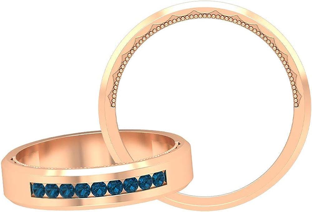 Minimalist Beaded Engraved Bridal Ring, 0.18 CT Certified Round Shaped Wedding Band, London Blue Topaz Band Ring, Unique Wedding Rings Set, 14K Gold