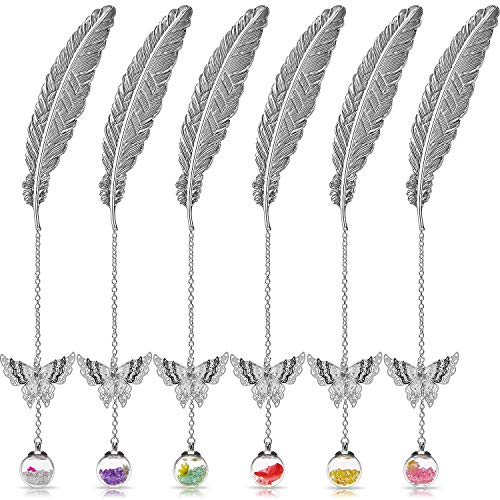 6 Pieces Metal Feather Bookmark with Butterfly Pendants and Eternal Flower Feather Shaped Bookmarks for Small Present, Multiple Styles (Silver)