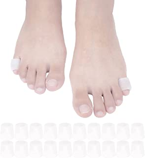JKcare Pinky Toe Sleeves Gel Corn Cushion Pads 10 Pairs/20 Pack Toe Protectors for Blister, Corn, Nail Issue, Reduce Friction (Toe Sleeves)