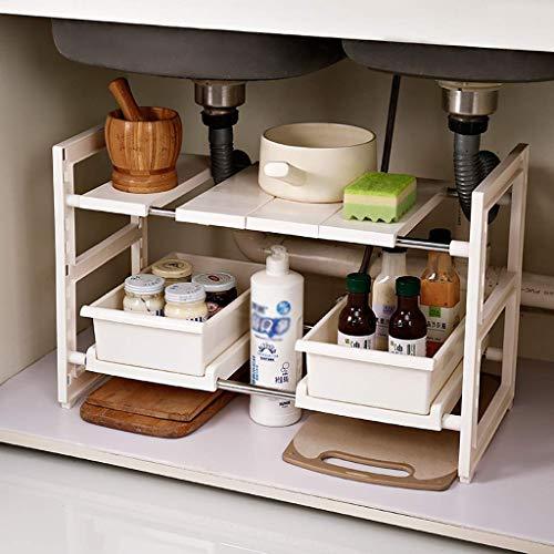 MJK Estante de almacenamiento de cocina para el hogar, organizadores debajo del fregadero, estante de almacenamiento multifuncional expandible para el hogar de 2 niveles con 2 cajones para bastidores