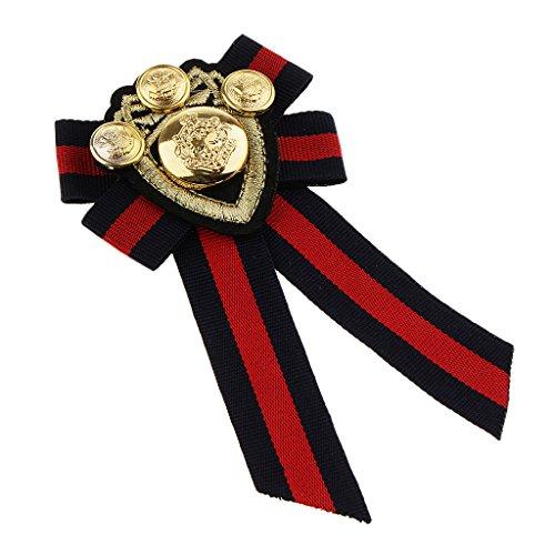 kowaku Vintage Fabric Bowknot Tie Corbata Insignia Pajarita de Caballero Británico - Raya Negra, Individual - Raya roja, Individual