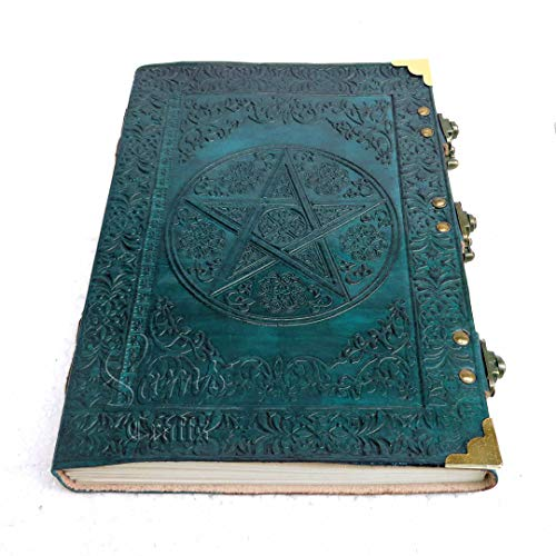 Book of Shadow Celtic Star Handmade Leather Diary Journal 3 Locks Diary - Turquoise - 10inch