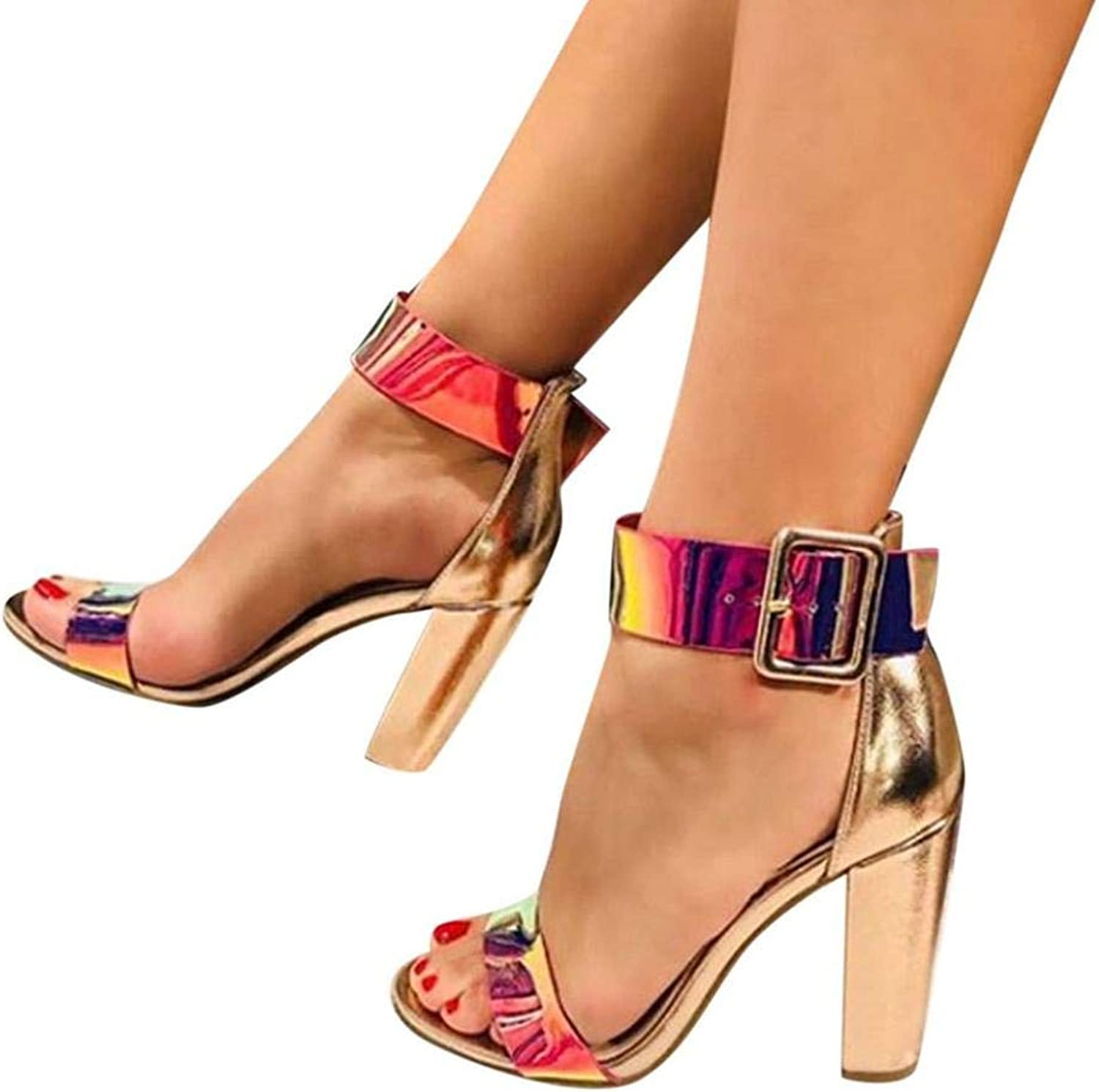 Women Sexy Nightclub High Heel Sequined Ankle Strap Party Pumps