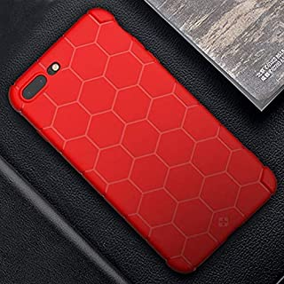 QFH For iPhone 8 Plus & 7 Plus Honeycomb Texture TPU Dropproof Protective Back Cover Case (Black) new style phone case (Color : Red)