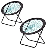 CampLand Bunjo Bungee Dish Chair Folding Camping Relax Fun Chair, Set of 2