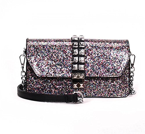FUHOAHDD Damen Handtaschen Schultertasche Messenger Bags Flash-Puder Nieten Kette Mode Taschen,...