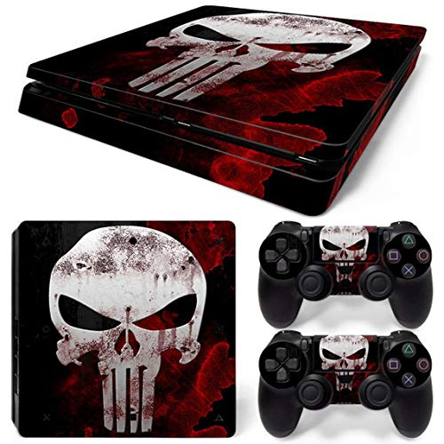 PS4 Slim Skins Console and Controller by ZOOMHITSKINS, Same Decal Quality for Cars, Punisher Revenger Superhero Punishing Skull Black Blood Red Hero, Fit PS4 Slim, Made in USA