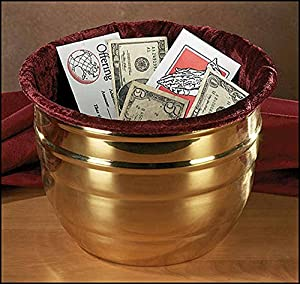 Faithful Gifts Large Offering Pot with Velvet Bag for Sunday Collections