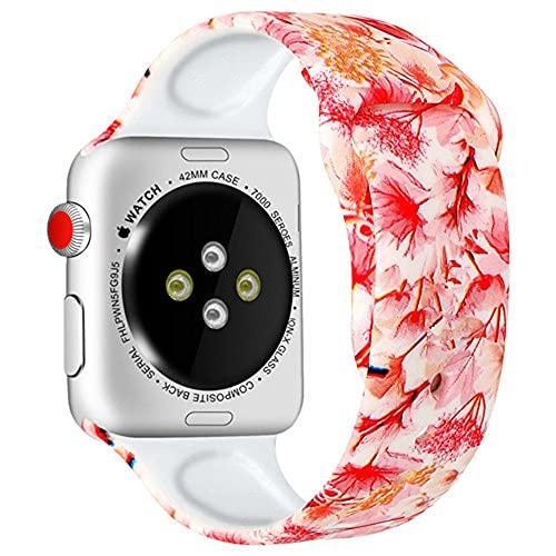 Ternzun Correa de silicona para Apple Watch Band 44mm 40mm 42mm 38mm pulseira correa impresión pulsera Apple Watch iwatch 4 3 5 SE 6 (42mm y 44mm, 4)