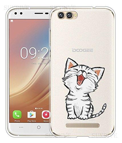Sunrive Für DOOGEE X30 Hülle Silikon, Handyhülle Schutzhülle Etui Case Backcover für DOOGEE X30(TPU Katze 2)+Gratis Universal Eingabestift