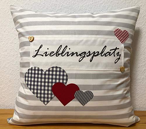 1 Kissenhülle, Kissenbezug,Landhausstil Kissen *Lieblingsplatz* grau/weiß gestreift mit Herzen