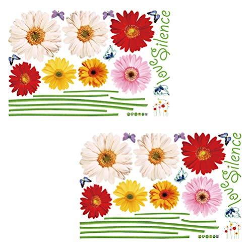 VICASKY 2 Pcs Daisy Blume Wand Aufkleber 3D Bunte Sonnenblumen Wand Decals Vinyl Abnehmbare Schmetterling Wand Kunst Aufkleber für Fenster Wohnzimmer Zimmer Schlafzimmer Kindergarten