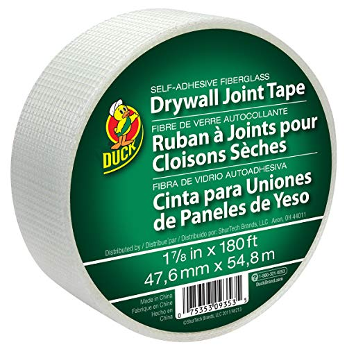 Duck Brand 282083 1.88-Inch by 180 Feet Single Roll Self-Adhesive Fiberglass Drywall Joint Tape, White