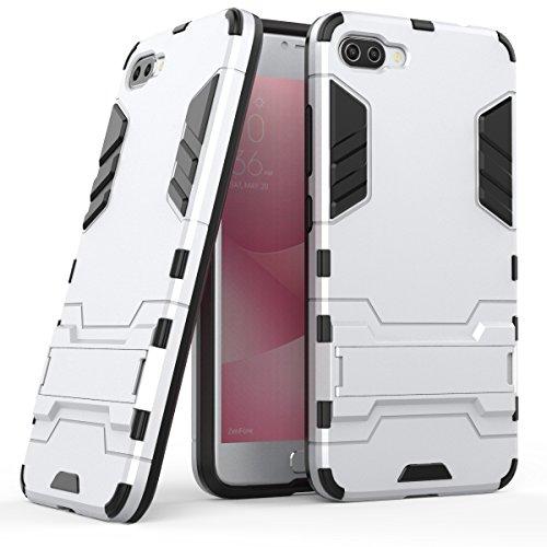 Hülle für Asus ZenFone 4 Max ZC554KL (5,5 Zoll) 2 in 1 Hybrid Dual Layer Shell Armor Schutzhülle mit Standfunktion Hülle (Silber)