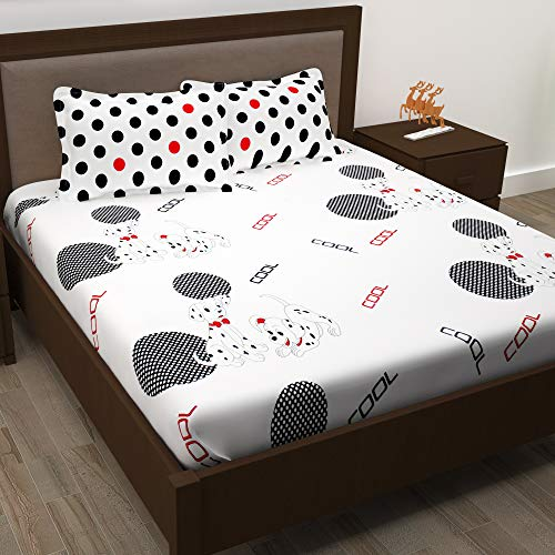 Story@ Home White 186 TC 100% Cotton 1 Double Bedsheet With 2 Pillow Cover White