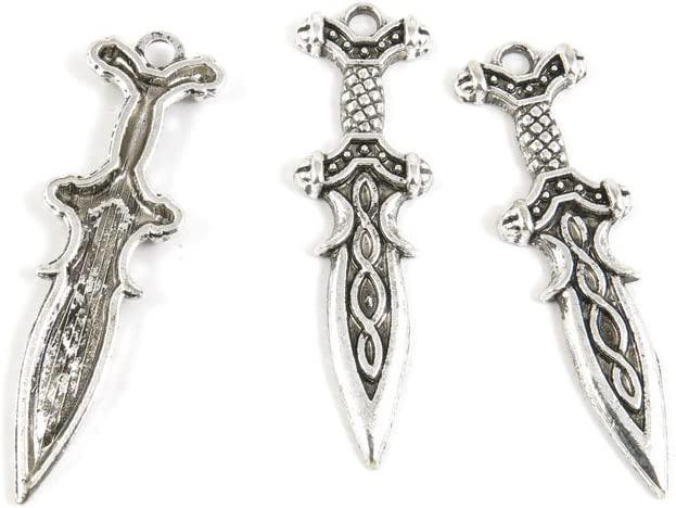 3pcs  Silver tone Swords Charms Pendants Jewelry  Findings Craft Suppies 3x106mm