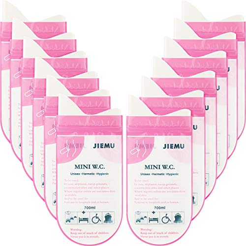12 Pieces Disposable Urine Bags Camping Pee Bags Portable Urinal Bag for Camping Travel Climbing Jam Urinal Toilet Traffic Jam Car Emergency Toilet Pee Bag for Men Women Kids Children Patient (Pink)