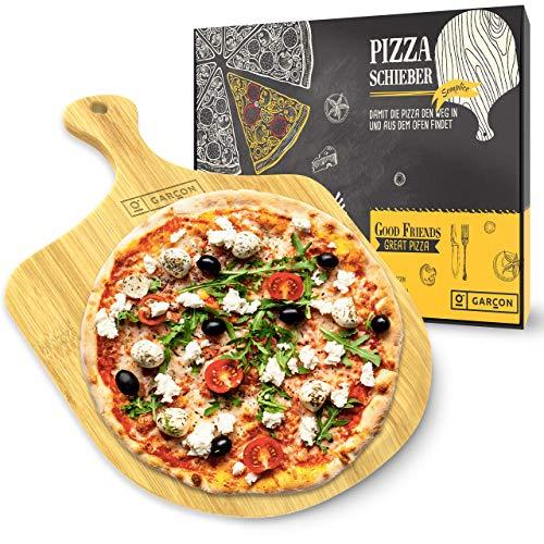 GARCON Pizzaschieber aus Holz für Pizzastein - 1 x Original Pizzaschaufel rund 30 cm Durchmesser für Pizza, Brot & Flammkuchen