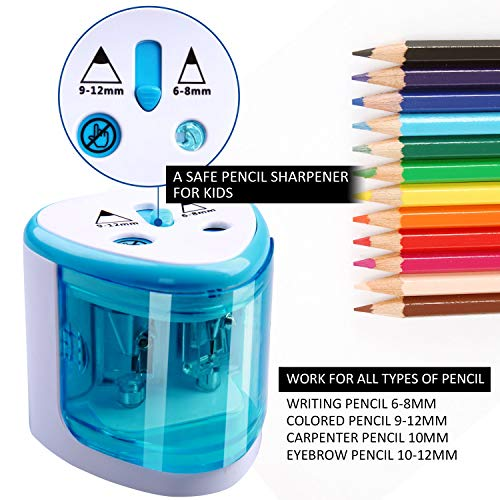Electric Pencil Sharpener Christmas Gift Heavy Duty Blades Durable Quiet Pencil Sharpener Battery Operated Plug in with Automatic Sharpens Colored Pencils for Classroom Kids,Blue Pencil Sharpener Photo #6