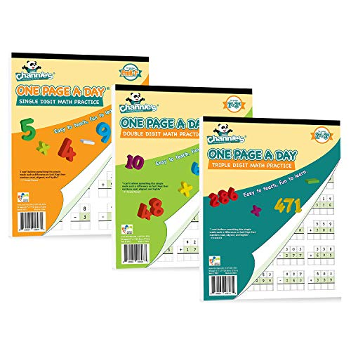 """Channie's One Page A Day Single, Double, Triple Digit Math Practice Worksheets 3 Pack! Grades 2-4th Size 8.5"""" x 11"""" Summer School, Summer Bridge"""
