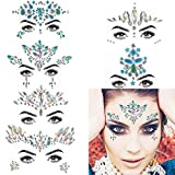 COKOHAPPY 6 Sets Rhinestone Mermaid Face Jewels Tattoo - BODY STICKERS Crystal Tears Gem Stones Bindi Temporary Stickers (Collection 4)