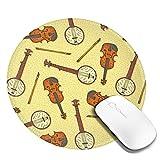 Vintage Holz Geige Violine Gelb Mauspad Runde Gaming Mousepad Personalisierte Kunstdruck Mauspad für Computer Laptop & PC für Schreibtisch Office