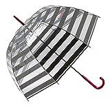GOTTA Paraguas Transparente Largo de Mujer con Forma de cúpula. Antiviento y Manual. Estampado Rayas - Gris