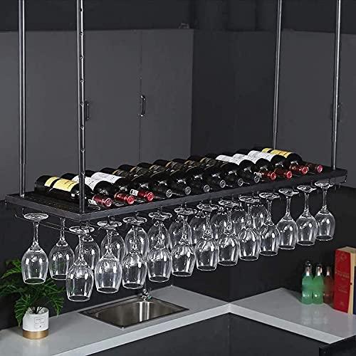 AERVEAL Soporte para Copas de Vino para Techo Soporte para Vino de Hierro Colgante Proceso de Pintura para Hornear Estante para Botellas Ajustable Estante para Vasos Al Revés Estante de Pared Simple