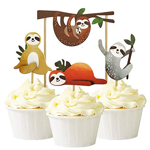 Alexless 24Pcs Sloth Cupcake Toppers Cake Picks Decoration for Baby Shower Birthday Party Supplies