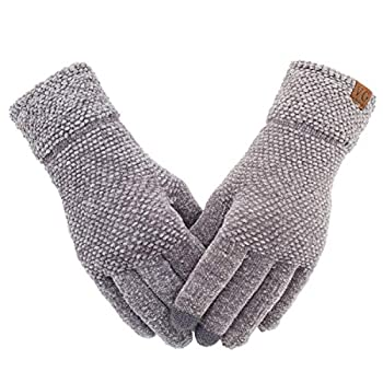 Women s Winter Touch Screen Gloves Chenille Warm Cable Knit Touchscreen Texting Elastic Cuff Thermal Gloves